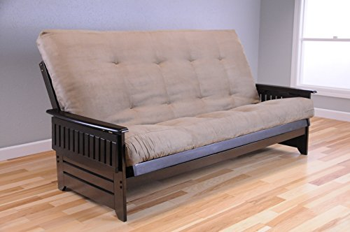 Queen Size Phoenix Espresso Frame w/ 8 Inch Mattress Microfiber Suede Futon Set Wood Sofa Bed (Frame w/ Peat Mattress)