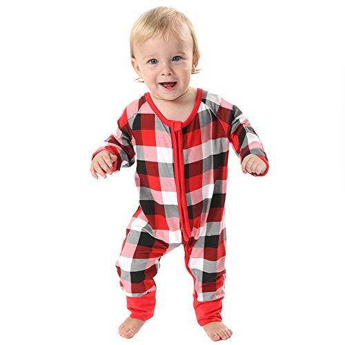 BOBORA Merry Christmas Holiday Family Matching Pajamas Reindeer Classic Plaid Pajama PJ Sets (60/3-6M, Infants') -