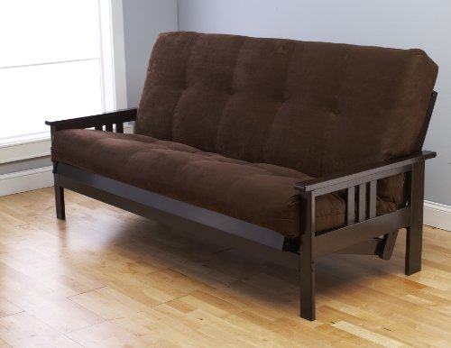 (Jerry Sales Full Size Excelsior Espresso Futon Frame w/ 8 Inch Innerspring Mattress Sofa Bed Wood Futons (Chocolate Matt and Frame Only (Full Size)))