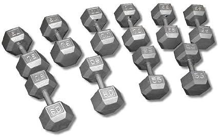 amazon com cast iron hex dumbbell set 55 75 lbs sports outdoors