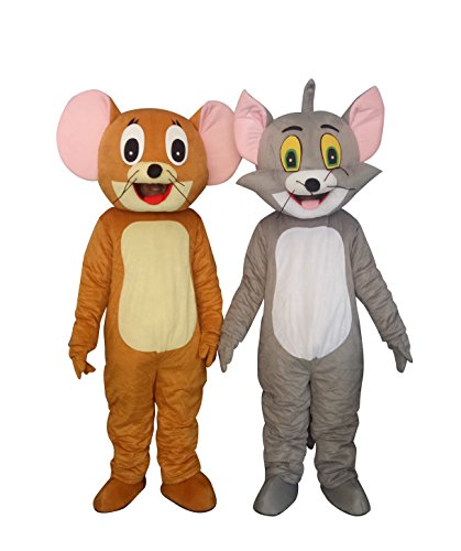 Mouse Mascot Costume Adult (Tom Cat and Jerry Mouse Adults Mascot Costumes Cosplay Fancy Dress Outfits)