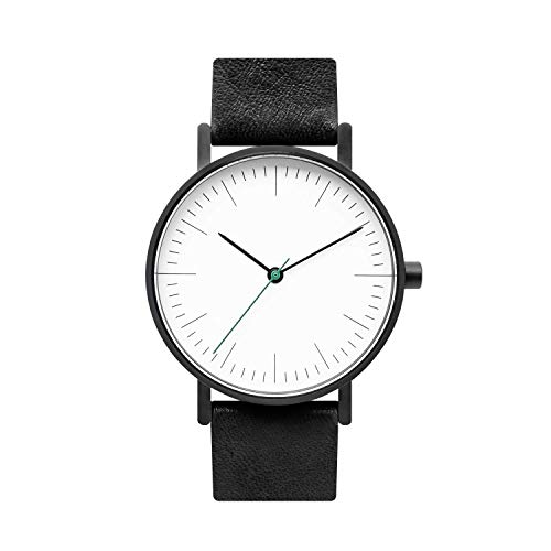 (BIJOUONE B001 Black Leather Stainless Steel Swiss Quartz Analog Unisex Watch, Matte Black Case)