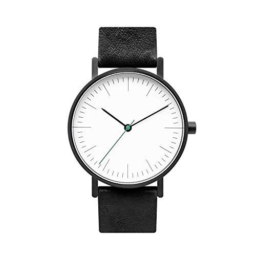 (BIJOUONE B001 Black Leather Stainless Steel Swiss Quartz Analog Unisex Watch, Matte Black Case)