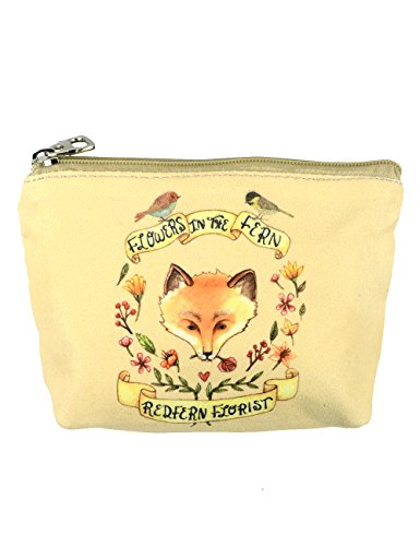 POPUCT Women's Canvas Mini Card Hold Coin Purse with Zip(fox) ()