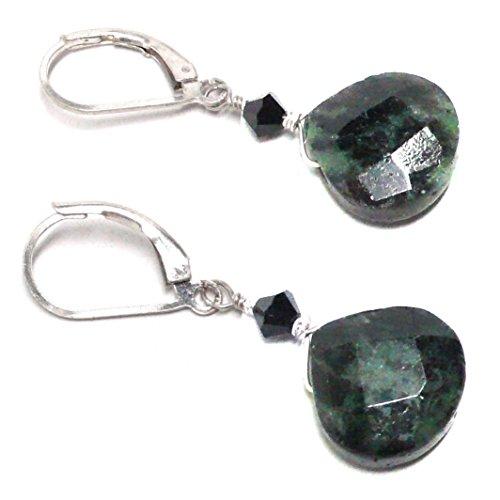 Ruby Briolette Earrings - Ruby in Zoisite Briolette Sterling Silver Lever Back Earrings Swarovski Crystal Custom