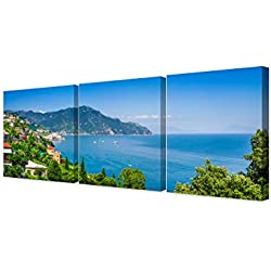 DecorArts - Canvas Prints Wall Art -View of famous Amalfi Coast(Triptych).Giclee Print on Canvas for Wall Decor.60x24""