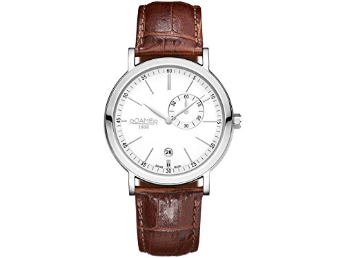 Roamer 934950-41-15-05 Mens Vanguard White and Brown Leather Watch
