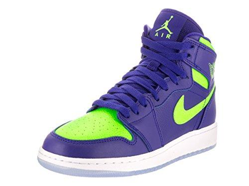 (Jordan Nike Kids Air 1 Retro High Bg Concord/Electric Green Basketball Shoe 5 Kids)