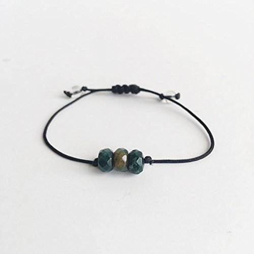 Moss String Bead Agate - JP_Beads Moss Agate ~ Choose a String Color ~ Faceted Moss Agate Bracelet, Minimalist Bracelet, Custom Bracelet, Gemstone Bracelet 3-6mm