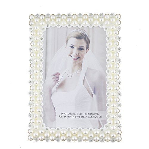7inch Crystal Pearl Oval Wedding Photo Frame Metal Alloy: White Pearl And Crystal Plastic Picture Frame