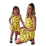 Franterd Mommy & Me Mom & Baby Parent-Child Sleeveless Polka Dot Prin Strap Family Matching Summer Mini Dress