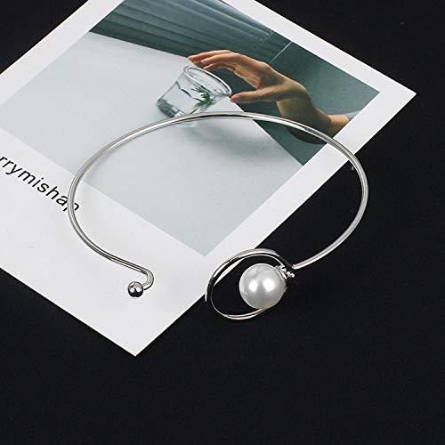 Geometric Hollowed Brass Bracelet Female Knotted Open Pearl Bracelet