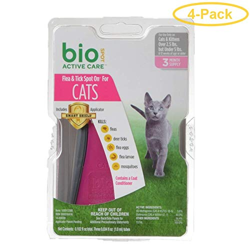 Bio Spot Active Care Flea & Tick Spot On for Cats Cats 2.5-5 lbs - 3 Month Supply - Pack of 4 by Bio Spot