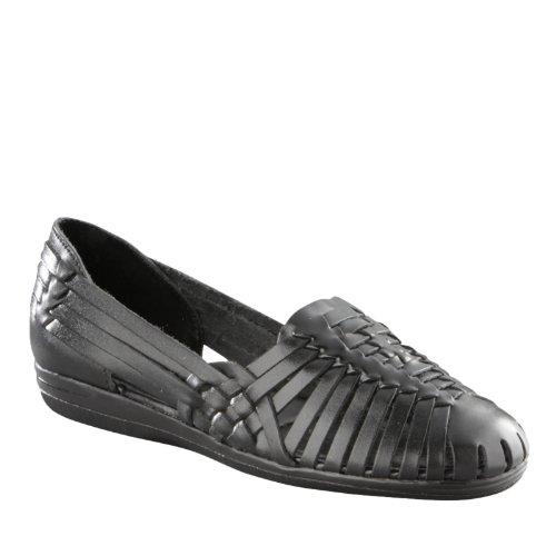 Huarache Softspots Leather - SoftSpots Women's Trinidad Huarache Sandals,Black 6W US
