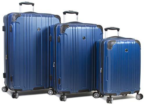 Dejuno 25DJ-668-BLUE Kingsley Hardside Spinner Luggage Set with TSA Lock44; Blue – 3 Piece
