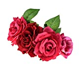 Love Fairy Hawaiian Stretch Rose Flower Headband Floral Crown for Halloween Party (Red Fuchsia)