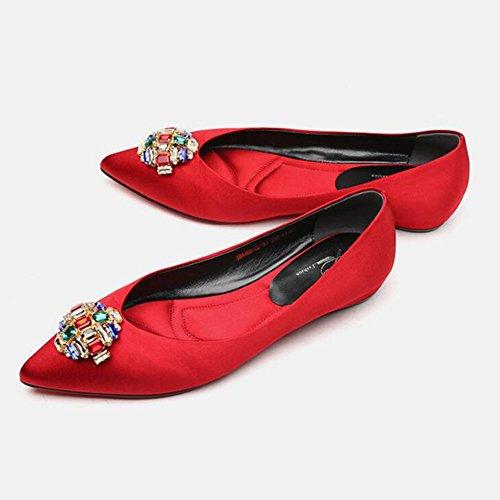 Cn36 Fritid Satin Størrelse Rhinestone 2 1 Farvet Uk4 Sort Røde Rød Bryllup Eu36 Abrikos Kvinde Elegante Yixiny Flad Hæle Farve XXqwYa