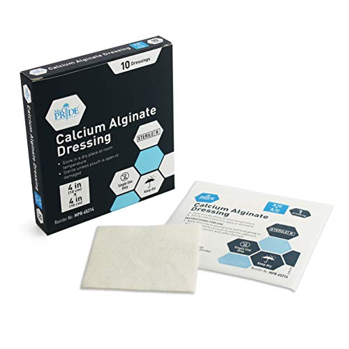"Medpride Calcium Alginate Wound Dressing Pads| 4"" x 4"" Patches, 10-Pack