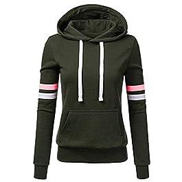 Womens Warm Stripe Hoodie Jacket Ladies Hooded Sweatshirt Autumn Winter Long Sleeve Blouse Casual Sport Workout Fitness Pullover Jumper Tops Outwear