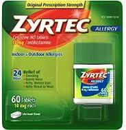 Zyrtec 24 Hour Allergy Relief Tablets, 10 mg Cetirizine HCl Antihistamine Allergy Medicine 60 ct