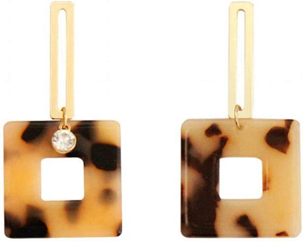 ZRDMN Pendientes de gota para mujer Pendiente de placa de acetato Geométrico Cuadrado Metal hueco Pendientes largos de piedras preciosas