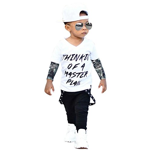Sumen 2pcs Baby Set Boys Letter Tattoo T Shirt Tops + Pants Outfits