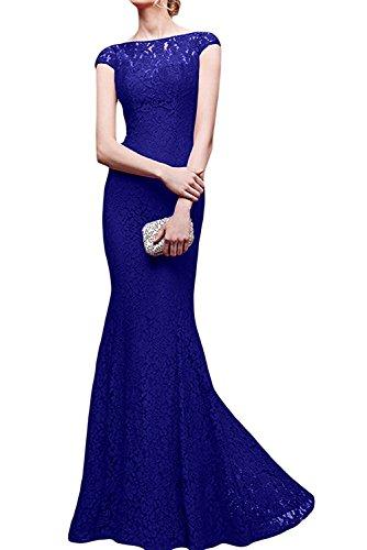 Langes Abendkleider Braut Blau Brautmutterkleider Spitze Royal Festlich Royal Damen Blau Meerjungfrau La mia Etuikleider p0qZXX