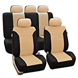 FH-FB065115 Classic Khaki Full Set Car Seat Covers, Airbag compatible and Split Bench, Beige / Black- Fit Most Car, Truck, Suv, or Van