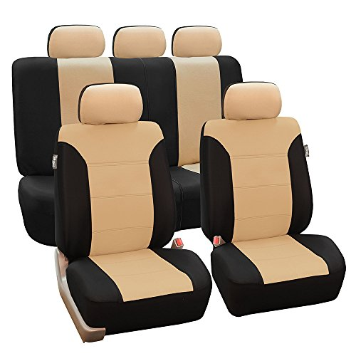 FH-FB065115 Classic Khaki Full Set Car Seat Covers, Airbag compatible and Split Bench, Beige / Black- Fit Most Car, Truck, Suv, or Van (2000 Acura Integra Seat Covers)