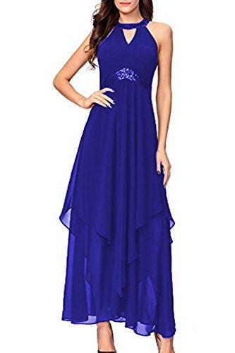 Da Vestito Blu Sera Solido Donne Elastico Eleganti Irregolare Abiti Le Pattinare nxqBwRax