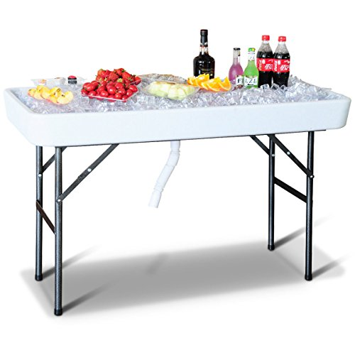 Giantex 4 Foot Party Ice Folding Table Plastic with Matching Skirt White Review