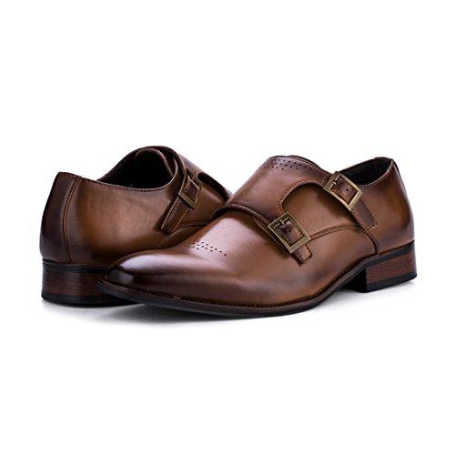 Jivana Mens Pu Leather Classic Oxford Dress Shoes Double Monk Strap Buckle