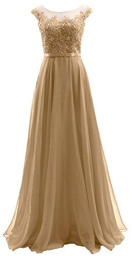 Dress Champagner Chiffon Long Illusion Lace Party Prom Sleeves Wedding Dress MACloth Cap PqXxAa0H