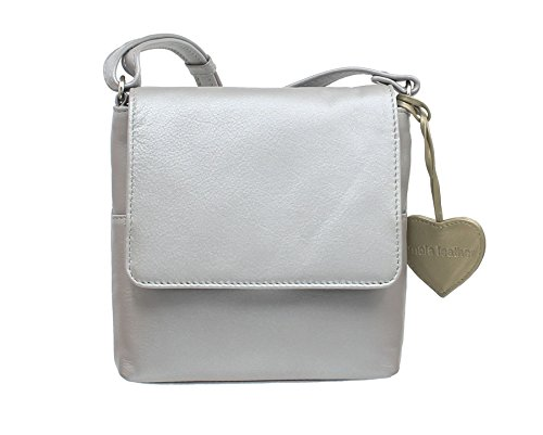 Mala Leather Colección ANISHKA Bolso Compacto de Cuero de Hombro/Cruzado Cuerpo 772_75 Oro Plata