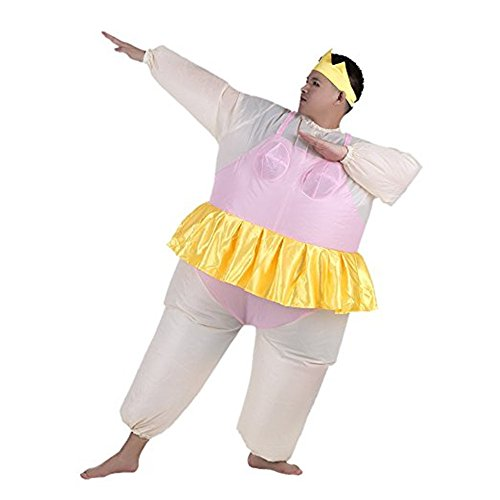 Fat Air Suit Costume (Ballerina Inflatable Costume Fat Suit Blow Up Halloween Party Fancy Jumpsuit Outfit (PINK))