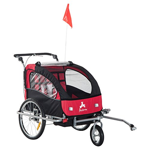 - Aosom Elite II 3-in-1 Double Child Bike Trailer/Stroller/Jogger, Red/Black