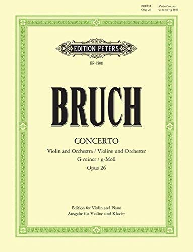 EDITION PETERS BRUCH MAX - CONCERTO NO.1 IN G MINOR OP.26 - VIOLIN AND PIANO Classical sheets Violin by Ed: Soldan and Stross Bruch (2016-04-05) (Bruch Violin Concerto In G Minor Sheet Music)