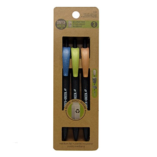 Onyx and Green 3-Pack Retractable Ballpoint Pens, Recycled Milk Carton, Med, Black (Recycled Milk)