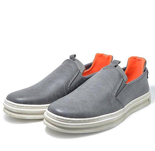 Heart&M primavera casual retro ovalada de los hombres poner un pie mocasín de cuero zapatos deep gray