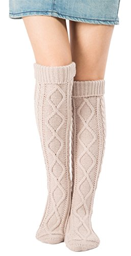 Leotruny Women's Diamond Knit Knee Winter Leg Warmers High Boot Socks (Beige) by Leotruny