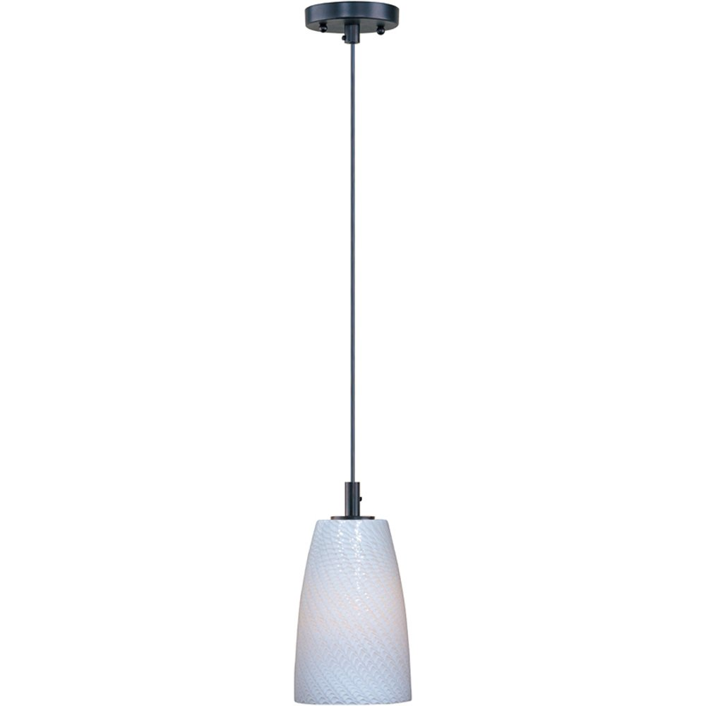 ET2 E92041-13BZ Carte 1-Light Single Pendant, Bronze Finish, White Ripple Glass, MB Incandescent Bulb, 40W Max., Dry Safety Rated, Glass Shade Material, 750 Rated Lumens