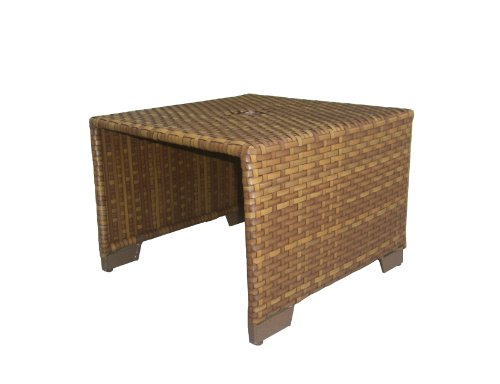 Panama Jack St Barths Coffee Table with Woven Umbrella Hole, Viro Fiber Brown Pine Finish