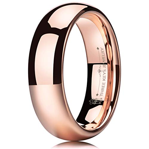 THREE KEYS JEWELRY 6mm Tungsten Carbide Wedding Ring for Women Plated Rose Gold Wedding Band Engagement Ring Polished Comfort Fit Size 11.5 14k Gold Womens Wedding Band 6mm