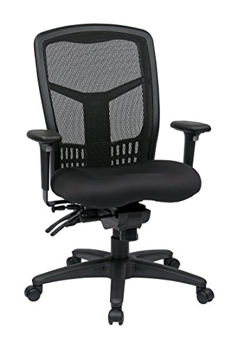 Office Star High Back ProGrid Back FreeFlex Seat with Adjustable Arms and Multi-Function and Seat Slider, Black Managers Chair ()
