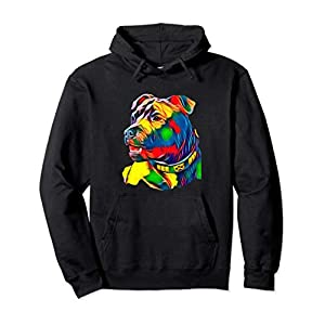 Watercolor Art Colorful American Staffordshire Bull Terrier Pullover Hoodie 36