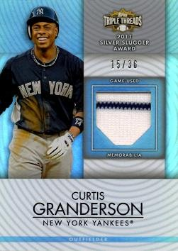 2012 Topps Triple Threads Relics #TTUR-85 Curtis Granderson Game Worn Jersey Baseball Card - Only 36 made!