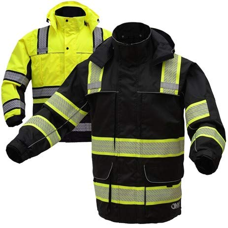 (3-IN-1 Performance Winter Parka Jacket with Reflective Tape | Removable Safety Hi Vis Hoodie | High Visibility Jackets for Men or Women (Medium, Lime Yellow))