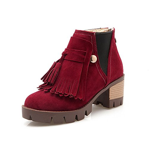 AdeeSu Girls Chunky Heels Tassels Ornamented Cow Imitated Suede Boots Red DrQm0axVS