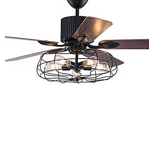 Wrought iron style fan semi flush ceiling light litfad industrial wrought iron style fan semi flush ceiling light litfad adjustable antique chandelier with fans and cage mozeypictures Choice Image