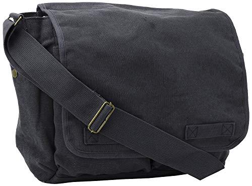 Black Original Heavyweight Classic Messenger Shoulder Bag with Army Universe Pin (Surplus Messenger Bag Army)